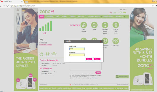 recharge zong 4g device online