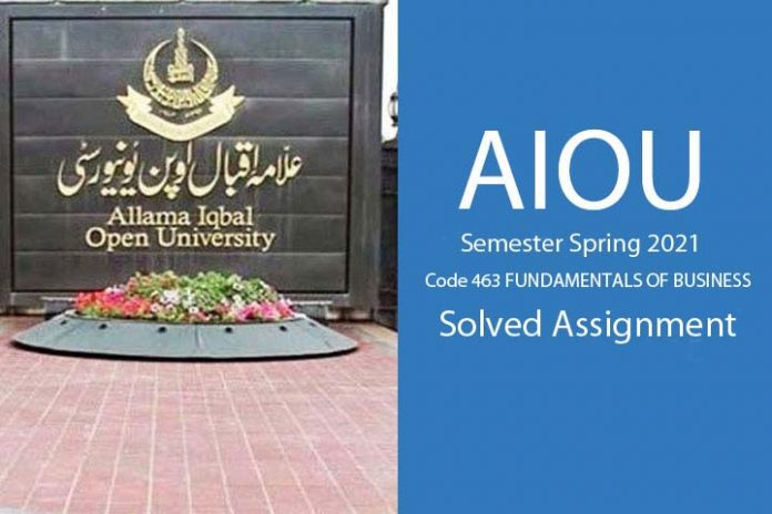 AIOU code 463 solved assignment