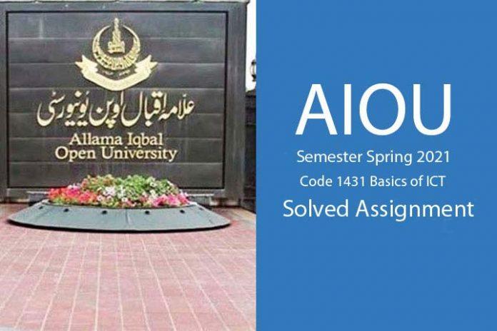 AIOu semester spring 2021 code 1431 solved assignment